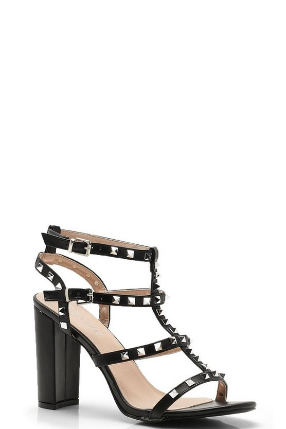 Womens Black Studded Strappy Block Heels