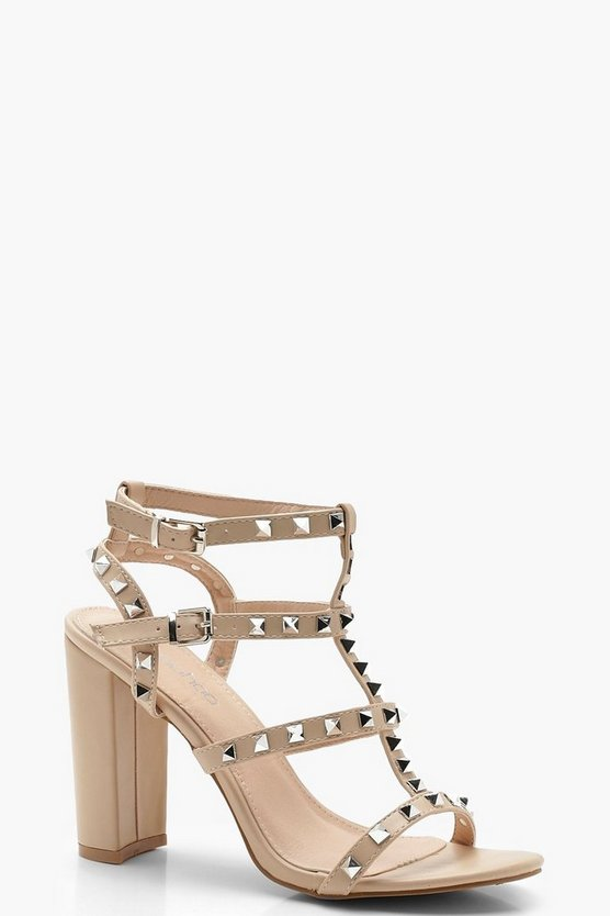 Studded Strappy Block Heels