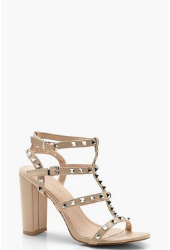 Womens Nude Studded Strappy Block Heels