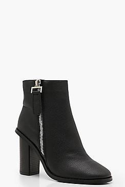 Zip Pull Block Heel Shoe Boots