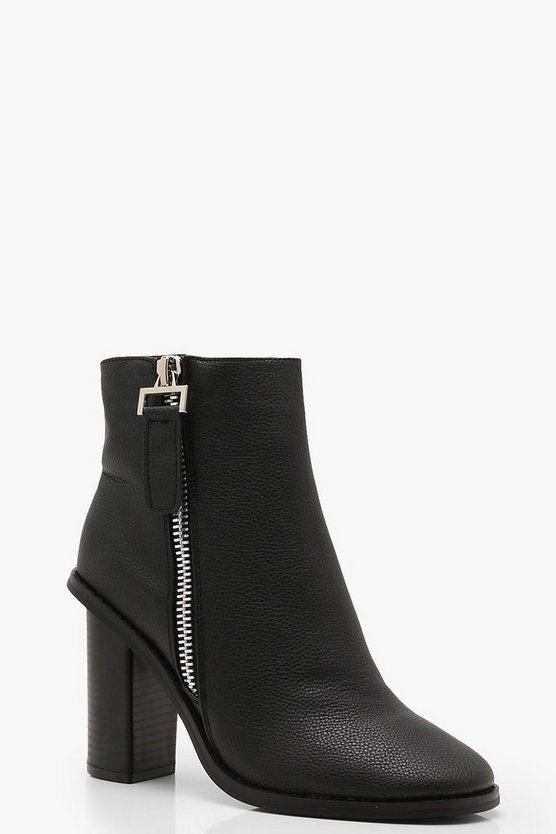 Zip Pull Block Heel Shoe Boots