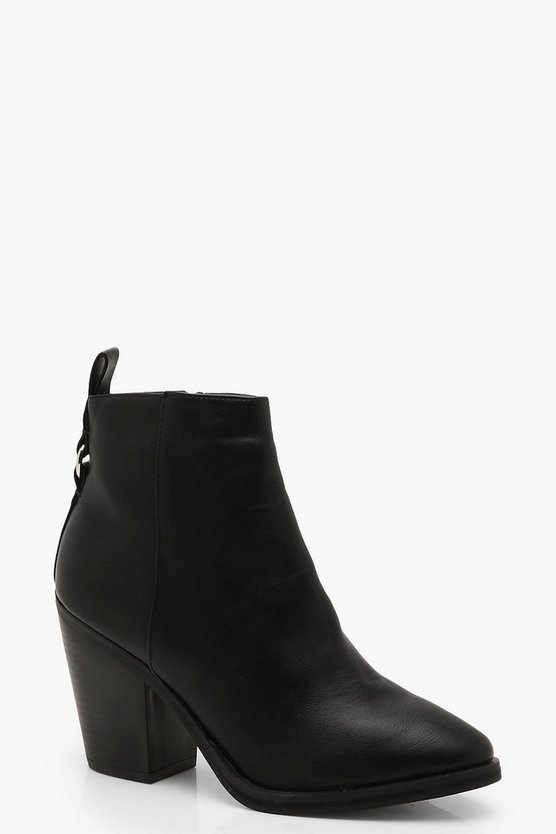 Womens Black Ring Detail Western Boots