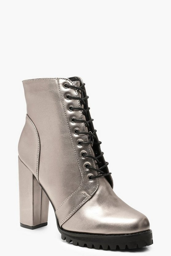 Metallic Block Heel Hiker Boots