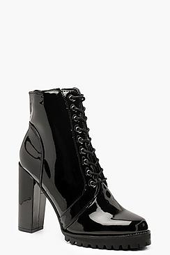 Patent Lace Up Block Heel Hiker Boots