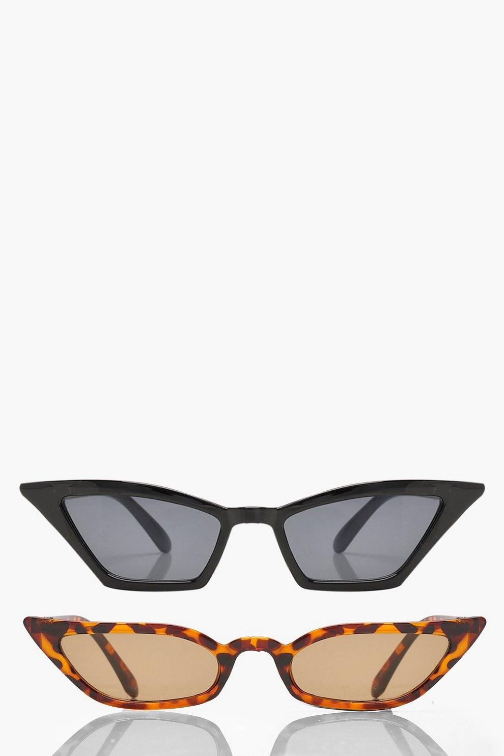 2a2d6c0ae7a 2 Pack Skinny Winged Cat Eye Sunglasses