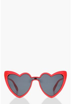 Womens Red Heart Shape Cat Eye Sunglasses