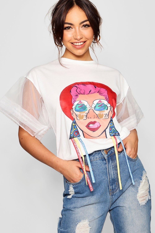 estampado de rostro y con Camiseta volante blanco Natalie manga de nxwaqqXp