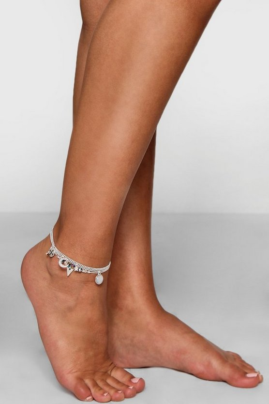Moon Arrow and Star Charm Anklet 4 Pack