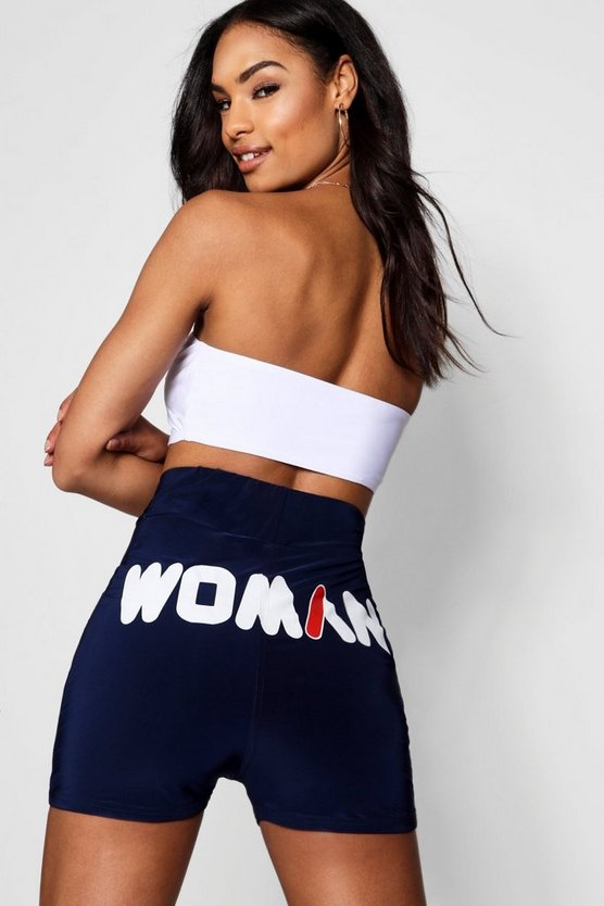 Womens Navy Woman Slogan Double Layer Hot Pant