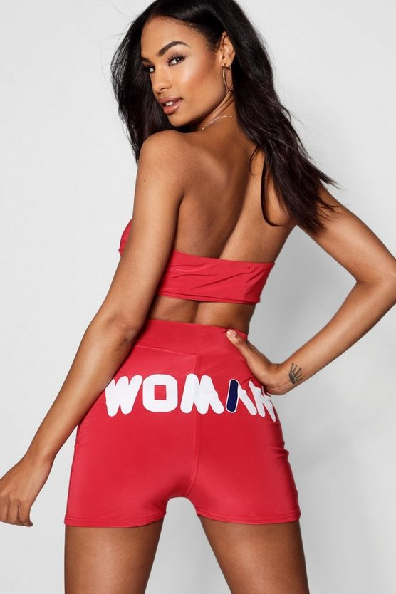 Womens Red Woman Slogan Double Layer Hot Pant