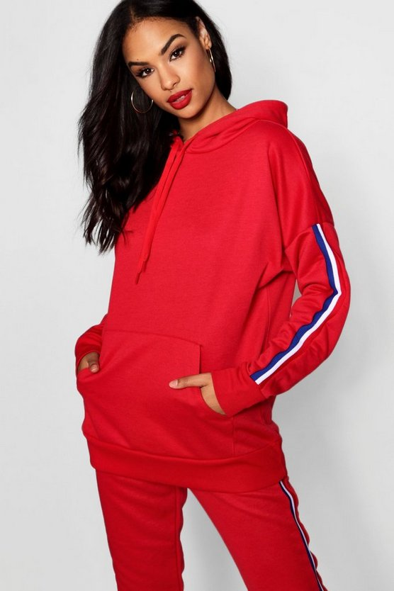 Woman Sports Striped Sleeve Hoody