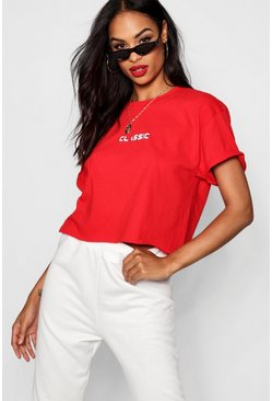Womens Red Woman Classic Cropped Tee