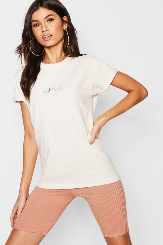 Womens Taupe Woman Classic Slogan Tee