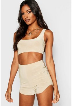 Womens Stone Running Short & Crop Top Co-ord