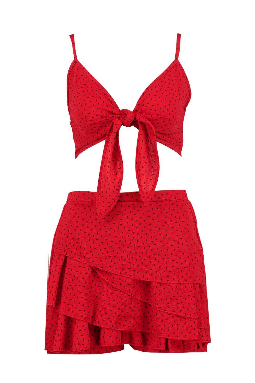 con detalle Conjunto y pantalón nudo falda Tally de de volante por rojo delante tpxBBFwqI