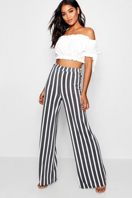 Hetty Extreme Wide Leg Stripe Trousers