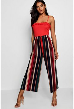 Womens Navy High Waist Stripe Fine Pleat Jersey Culotte