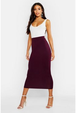 Womens Berry Basic Jersey Midaxi Skirt