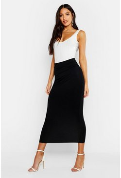 Womens Black Basic Jersey Midaxi Skirt