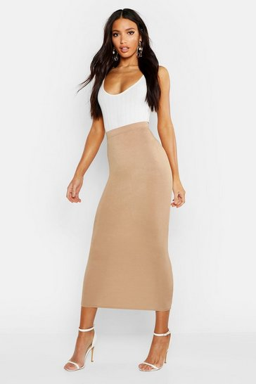 Womens Camel Basic Jersey Midaxi Skirt