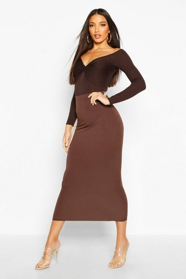 Chocolate Basic Jersey Midaxi Skirt