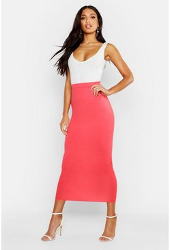 Womens Coral Basic Jersey Midaxi Skirt