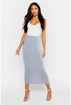 Grey marl Basic Jersey Midaxi Skirt