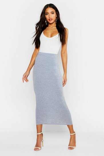 Womens Grey marl Basic Jersey Midaxi Skirt
