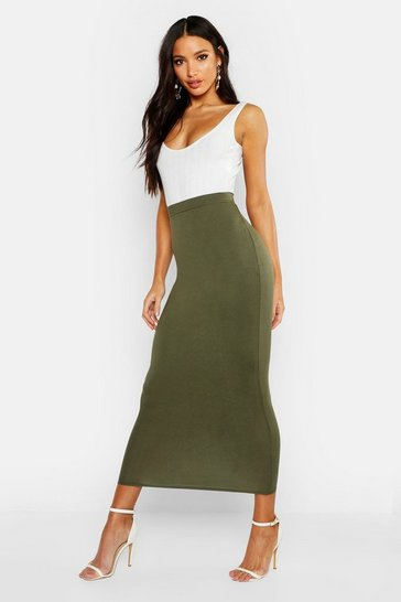 Womens Khaki Basic Jersey Midaxi Skirt