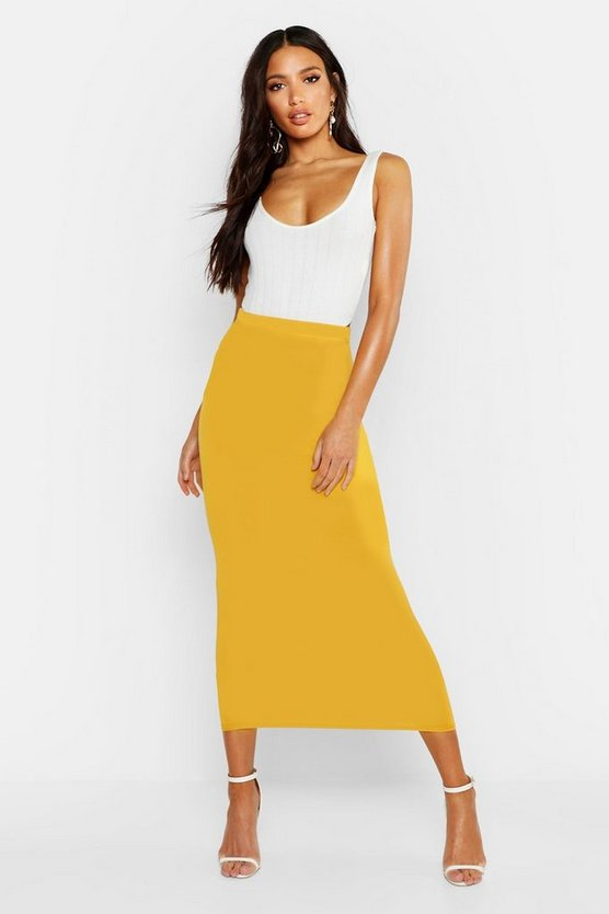 Womens Mustard Basic Jersey Midaxi Skirt