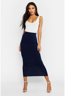 Navy Basic Jersey Midaxi Skirt