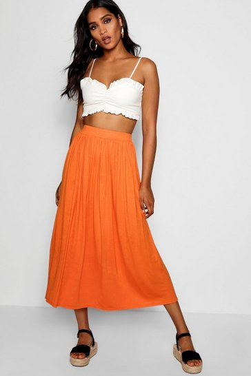 Womens Tangerine Basic Jersey Full Midaxi Skirt