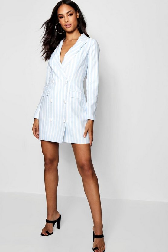 Blue Striped Blazer Dress