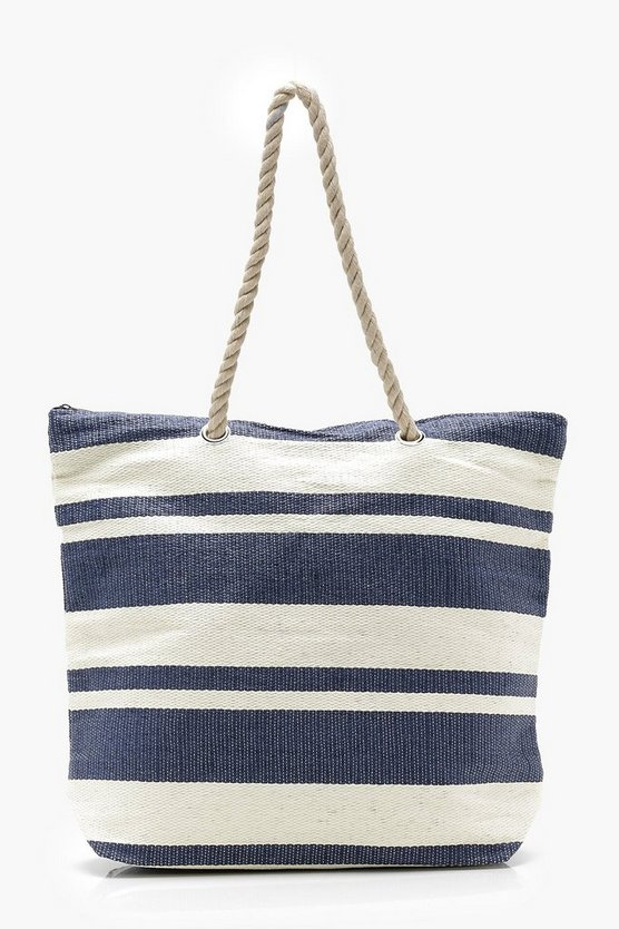 Striped Rope Handle Beach Bag