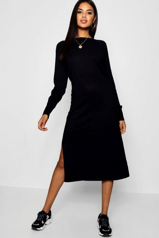 Black Oversized Knitted Midaxi Dress