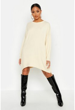 Womens Cream Oversized Boyfriend Knitted Dress