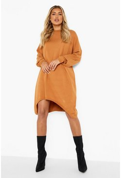 Womens Mocha Oversized Boyfriend Knitted Dress