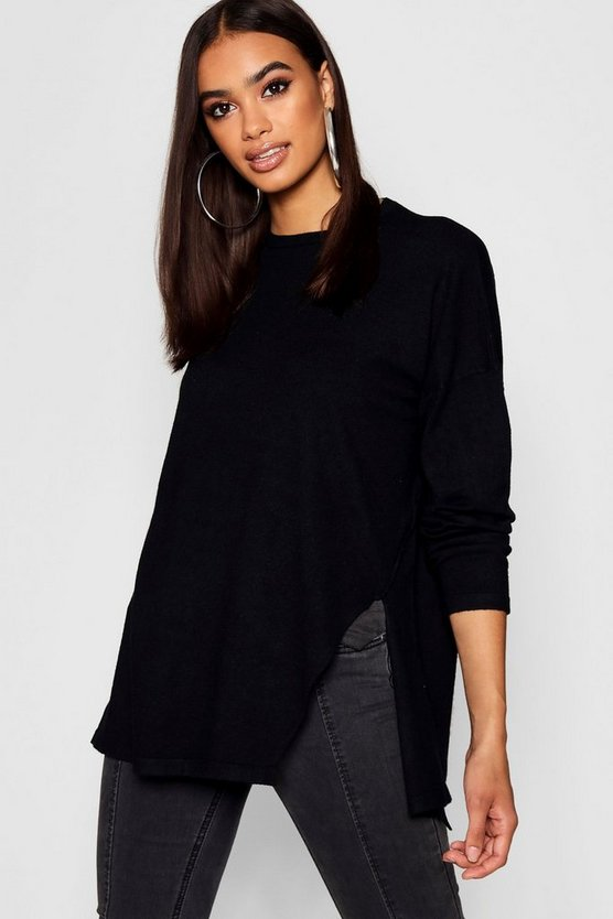 Black Oversized Split Side Knitted Top