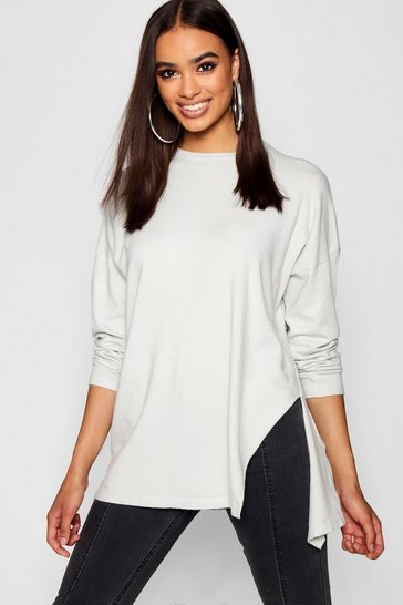 Womens Grey Oversized Split Side Knitted Top