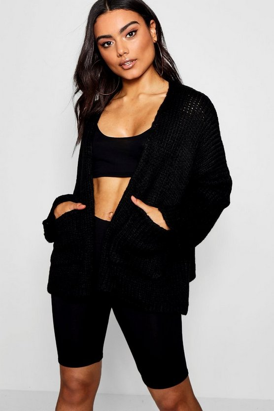 Womens Knitted Boyfriend Box Crop Cardigan