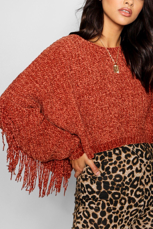frange in con ciniglia maglia in Pullover qSvnwpHCBx