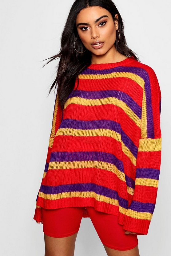 Womens Red Slouchy Boyfriend Stripe Jumper