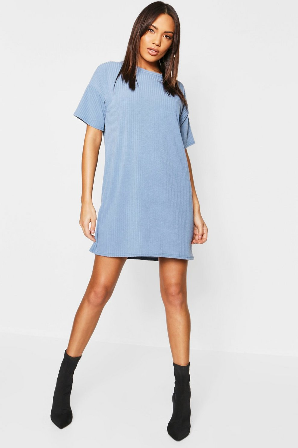 Oversized Rib Knit T Shirt Dress Boohoo