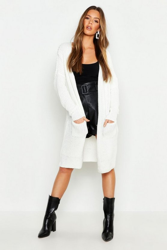 Womens Cream Oversized Boyfriend Cardigan