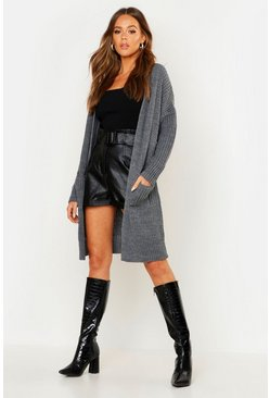 Womens Grey Oversized Boyfriend Cardigan