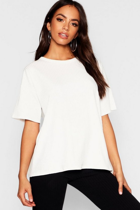 Oversized Boxy Rib Knit T Shirt Oversized Boxy Rib Knit T Shirt by Boohoo