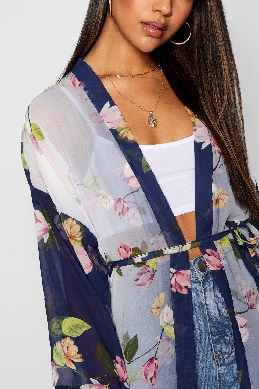 chifón de y cinturón Kimono con floral azul estampado 5dwfIn