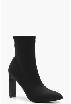 Womens Black Flat Heel Sock Boots
