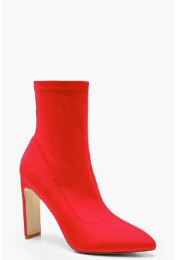 Womens Red Flat Heel Sock Boots
