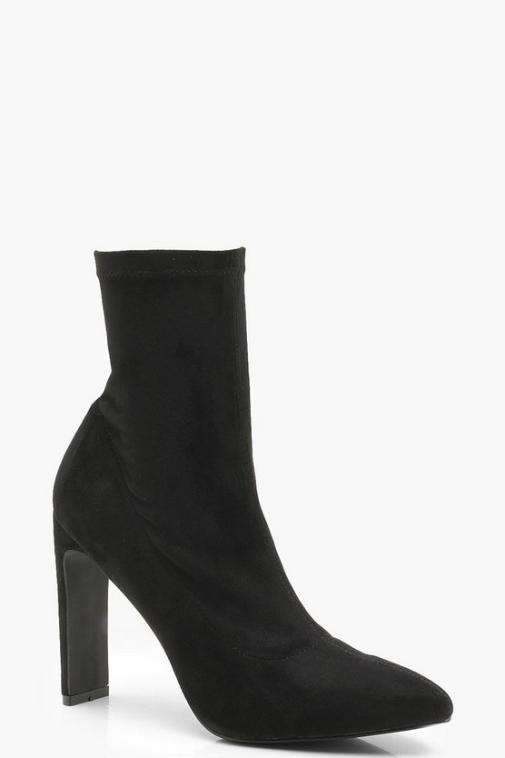 Womens Black Flat Heel Pointed Sock Boots